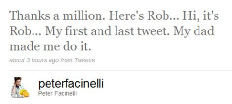 Robert Pattinson tweets via Peter Facinelli's Twitter account!